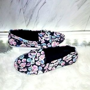 Floral Boat Shoes Casual Flats Black Blue Size 7